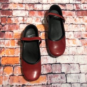Dansko Red and Black Mary Jane Clogs 37